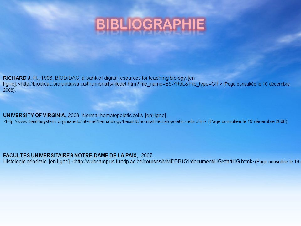 BIBLIOGRAPHIE RICHARD J. H., 1996. BIODIDAC, a bank of digital resources for teaching biology. [en.